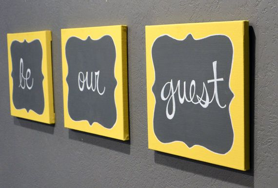 Be Our Guest Canvas Painting Set Guest Room Wall Art Wall Hanging ...