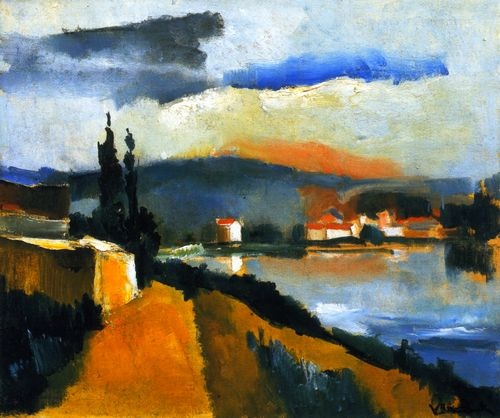 The River Bank, 1909, by Maurice de Vlaminck (French, 1876–1958).
