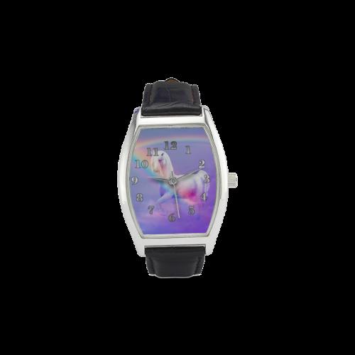 Unicorn and Rainbow Barrel Style Leather Strap Watch. FREE Shipping. #artsadd #watches #unicorn