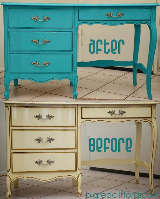 big red clifford: before & after {my flaming teal desk...}