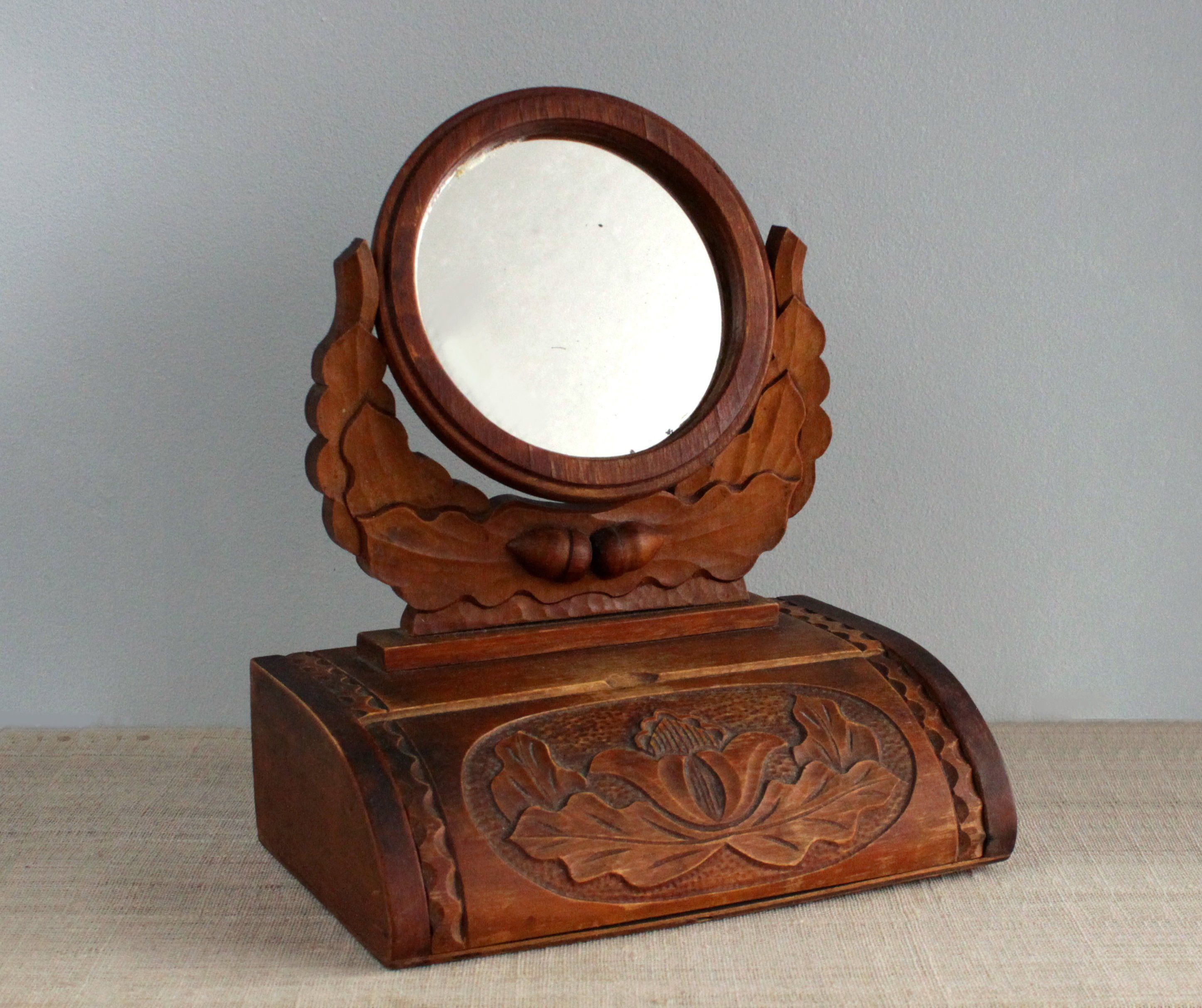 Mid Century Table Top Vanity Mirror Dressing Table With Etsy Mirror Carved Table Vanity Mirror