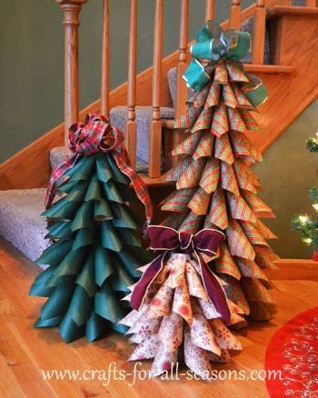 Build a paper cone Christmas tree. | 19 Clever Ways To Use Leftover Wrapping Paper