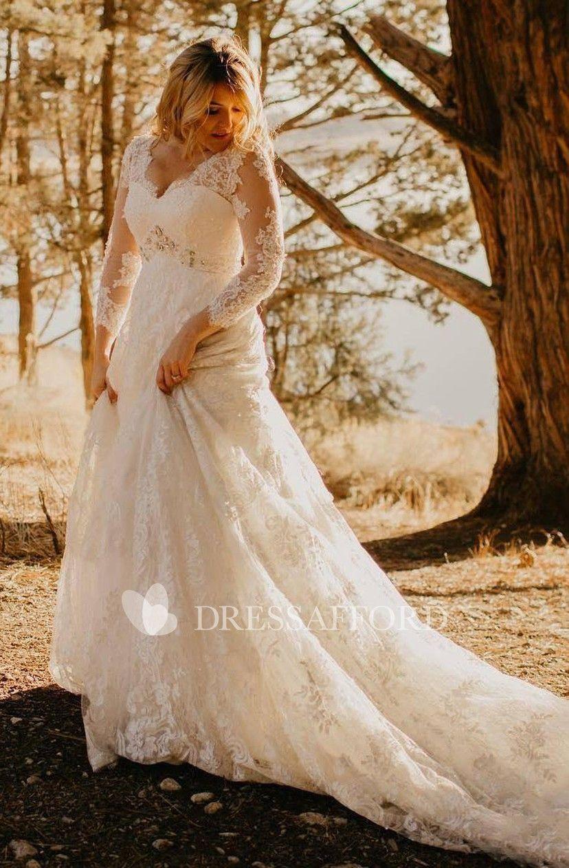 Elegant Country Style Plus Size Lace V Neck A Line Illusion 3 4 Sleeve Court Train Wedding Dress Wedding Dresses Vintage Country Lace Wedding Dress Vintage Wedding Dress Long Sleeve [ 1262 x 828 Pixel ]