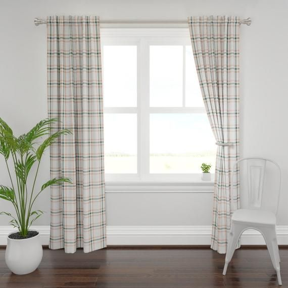Plaid Curtain Panel - Sage & Coral Plaid by the_lemon_bee - Tartan Custom Curtain Panel by Spoonflow