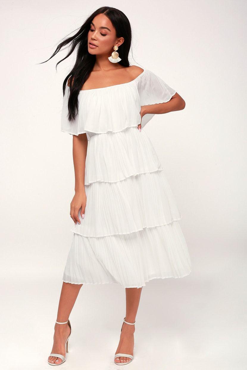 Gala Ready White Off The Shoulder Ruffle Midi Dress In 2021 White Dresses For Women Midi Ruffle Dress Cute White Dress [ 1245 x 830 Pixel ]