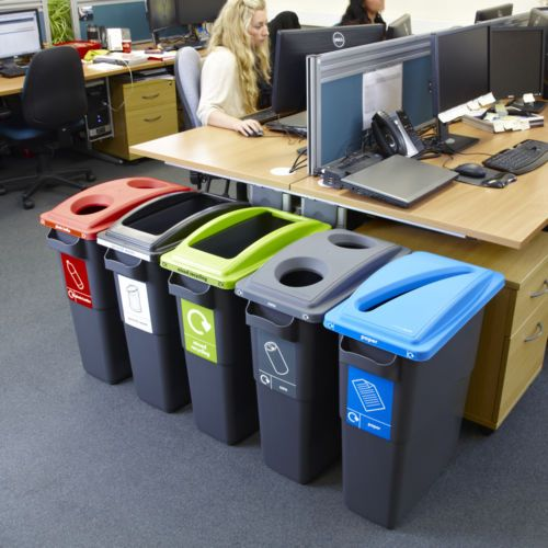 Ecosort Office Recycling Bins 60L 70 Litre Recycle Bin Rubbish Paper Plastic