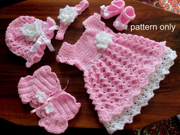 873c59968 Baby Set Crochet Pattern(Baby Dress