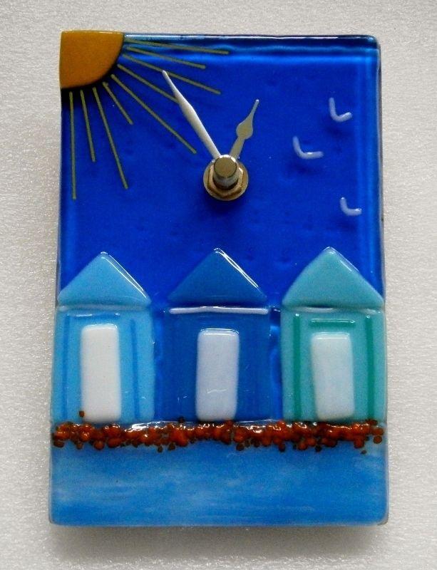 Fused glass Beach huts wall clock £50.00