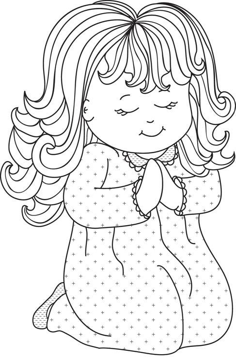 Little Girl Praying Digital Stamps People Coloring Pages