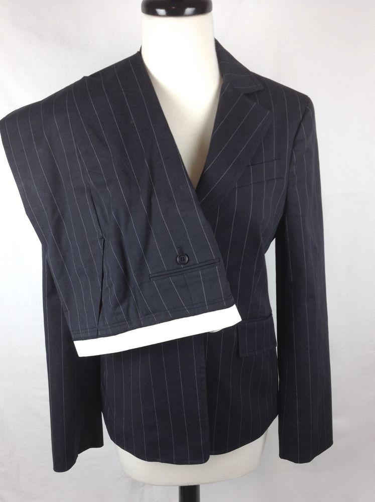 Bcbg Suit Jacket Pinstripe Black Dress Pants Slacks Womens M 6 Bcbgmaxazria Pantsuit