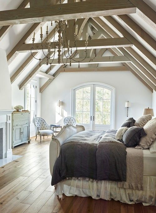 timber frame ceiling, arched windows, wood floors - glorious bedroom ...