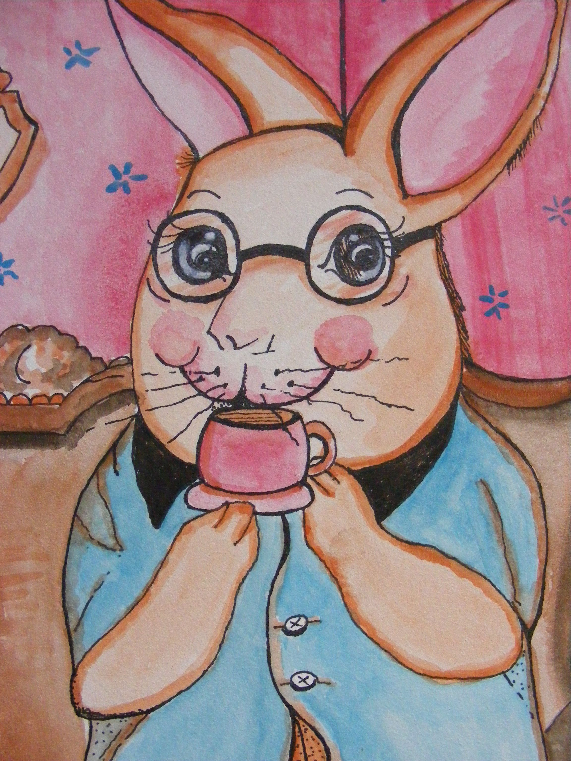 Watercolor artists names -  Betty Lou Takes Her Tea Original Watercolor Painting Available With Your Child S Name