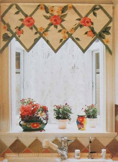 A Window Shade Hand Painted In Lattice Pattern Overgrown With Blooming Vines Is The Ideal Companion For Colorful Display Of Potted Plants On Sill