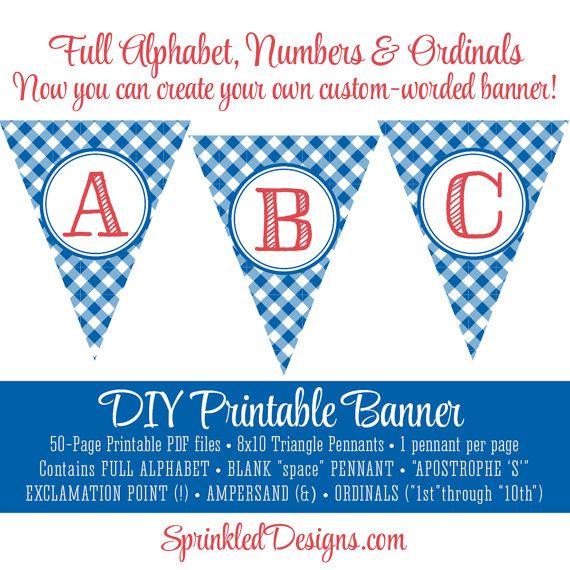 Printable DIY Custom Pennant Banner