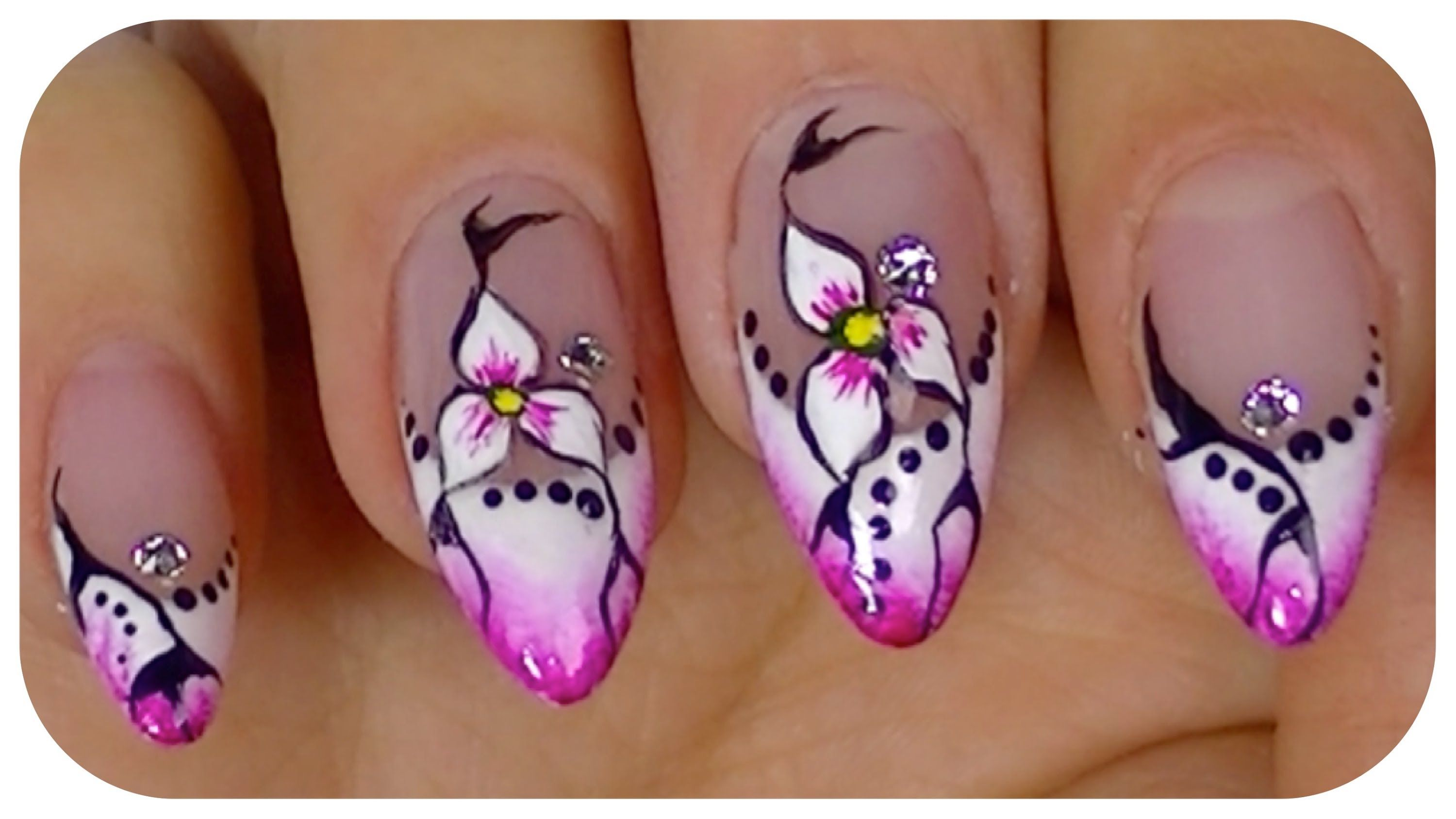 Pretty Flower Elegant Nail Art Video Design Step By Tutorial
