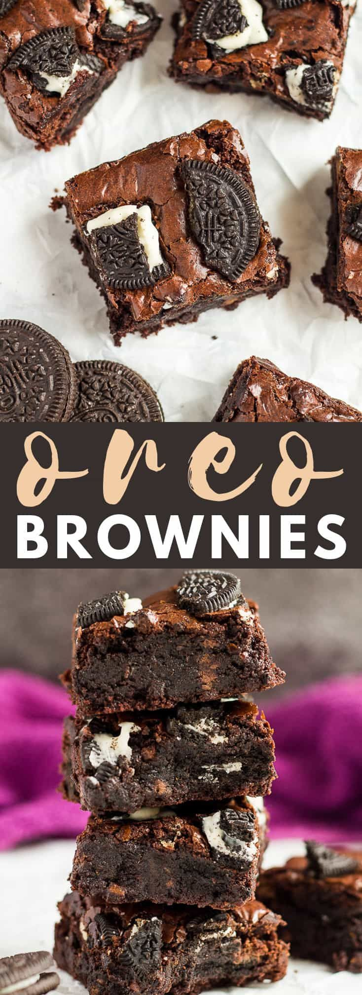 Oreo Brownies - Deliciously thick and fudgy brownies that are chocolatey rich, and loaded with Oreo cookies!