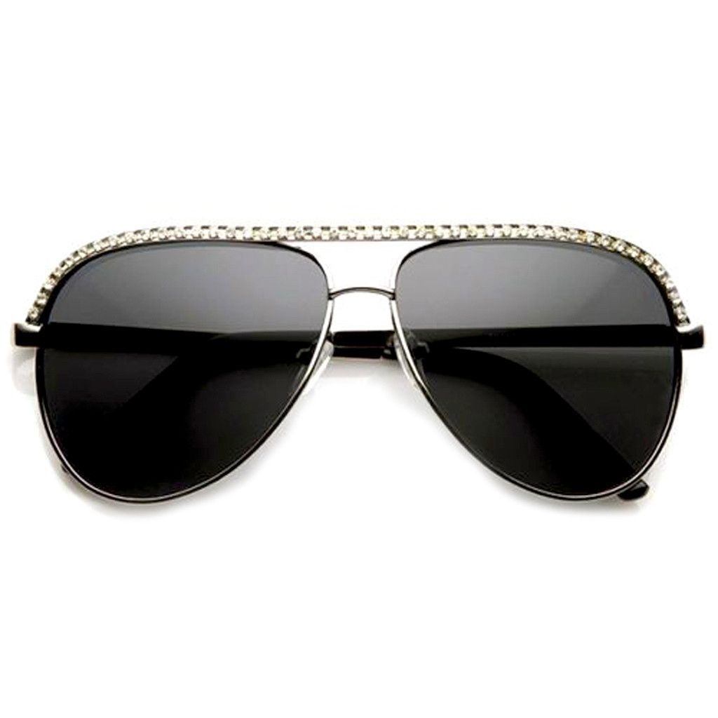 dc24191c92bc Rhinestones Womens Aviator Metal Sunglasses Stunner Fashion Celebrity Bling