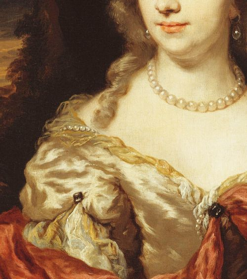 Portrait of a Young Lady (detail), 1678 by Nicolaes Maes (Dutch, 1634-1693)