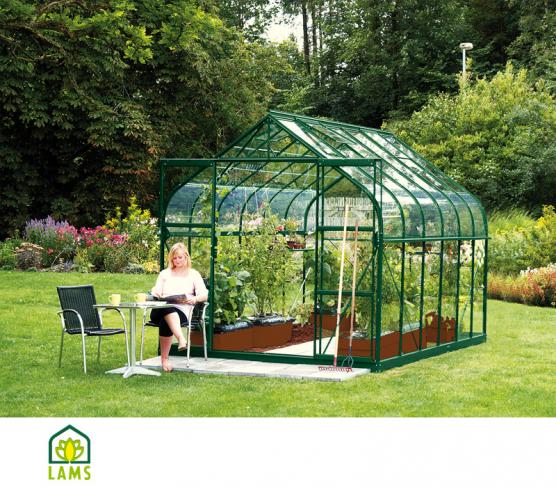 Serre de jardin en verre 9m² toit verre et plexiglass ...