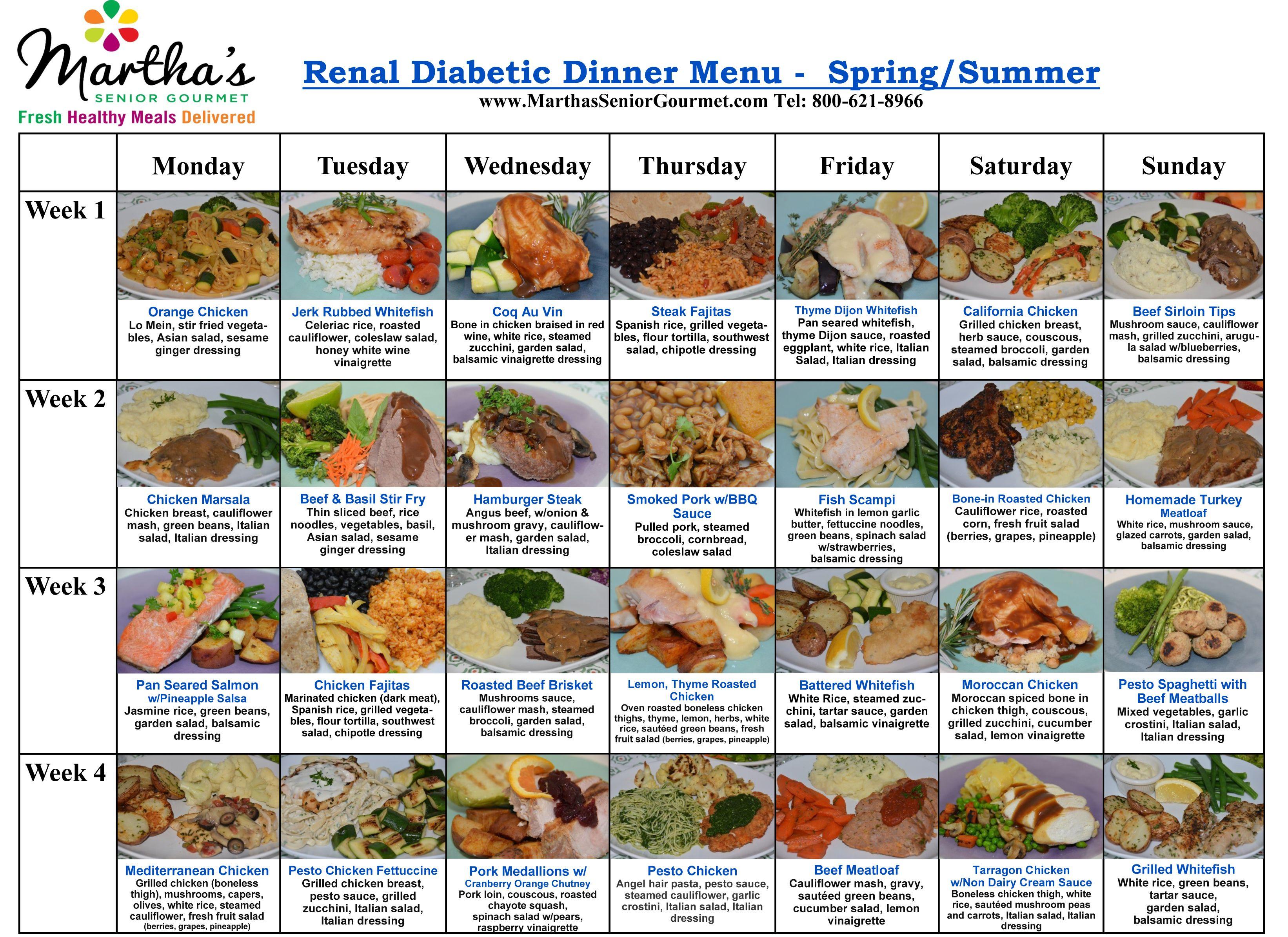 Martha S Senior Gourmet Renal Diabetic Dinner Menu Spring Summer Kidney Friendly Recipes Renal Diet Renal Diet Recipes Kidney Disease Diet Recipes