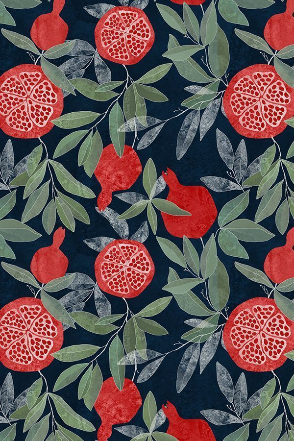 Colorful fabrics digitally printed by Spoonflower – Pomegranate garden on dark