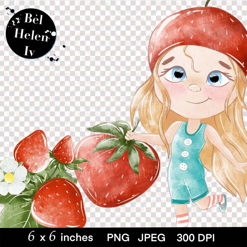 Strawberry Clipart The girl with strawberry clip art