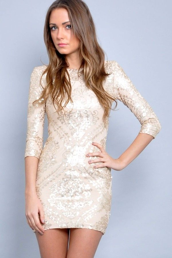 2c8cfa675716 Long Sleeve Short Sequin Dress | Dress: short evening gold, baroque, sequin long  sleeve baroque .