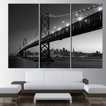 Black And White Golden Gate Bridge In San Francisco Wall Art Canvas Extra Large Print Skyline T470