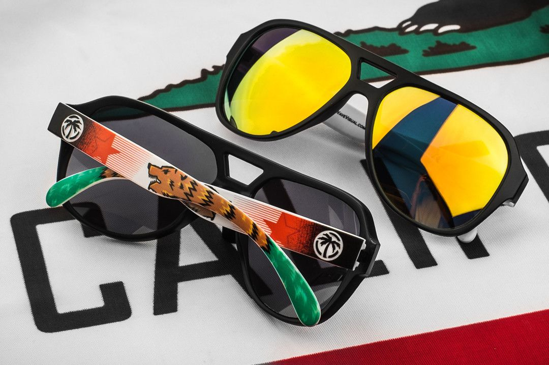 128ba8190a2e5 Heat Wave Visual Supercat California Flag custom sunglasses