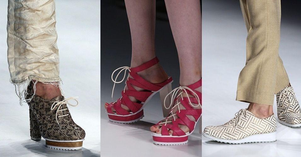 A palha trançada e o couro de arraia foram os materiais escolhidos pela TNG para confeccionar os calçados da sua coleção de Verão 2016