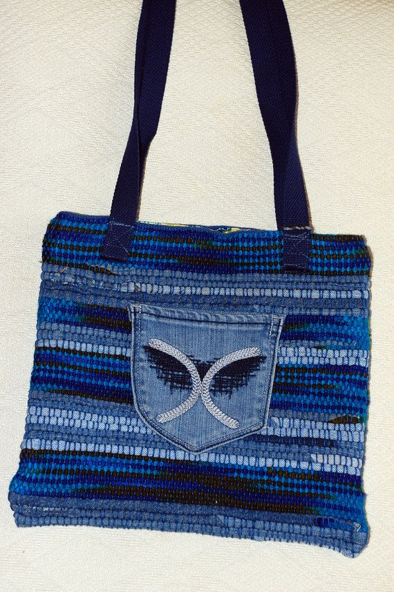 Denim tote bag by Mimi. Available for $40.00 at www.Etsy.com/shop/mimisfunstuff
