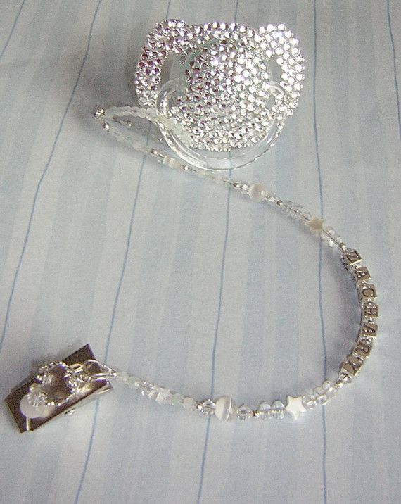 Grey Diamonds /& Pearls Crystal Bling Baby dummy holder clip chain gift Romany