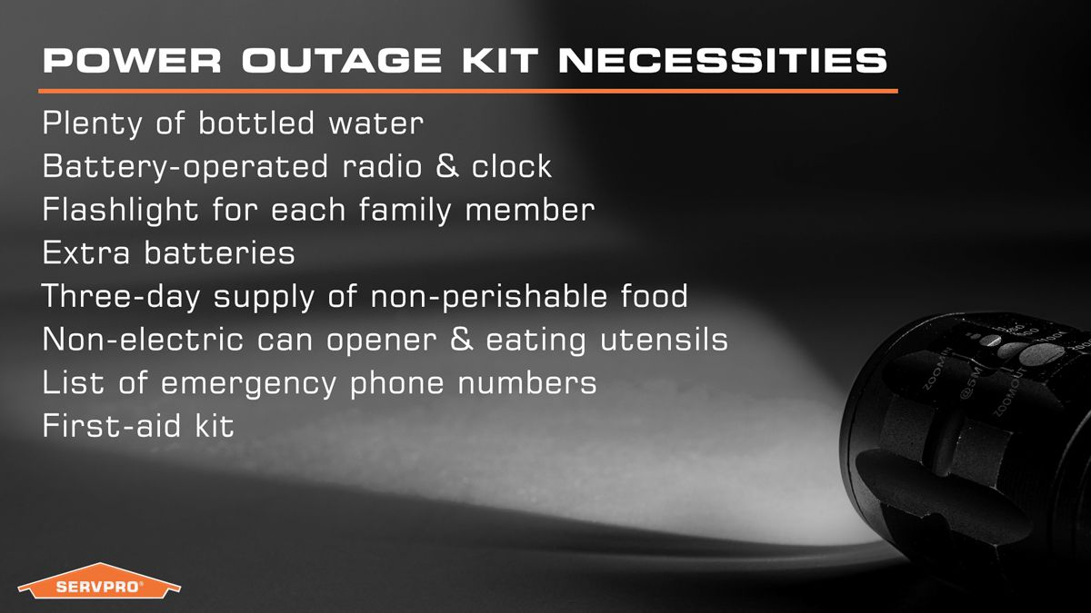 Power outage safety kit Servpro Power outage kit, Power