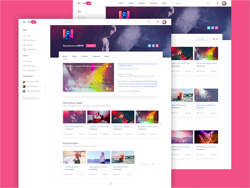 YouTube Redesign   Free PSD by BlogDuWebdesign   Pinterest