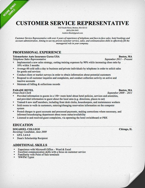 Customer Service Resume Professional Resume example Pinterest - customer service on a resume