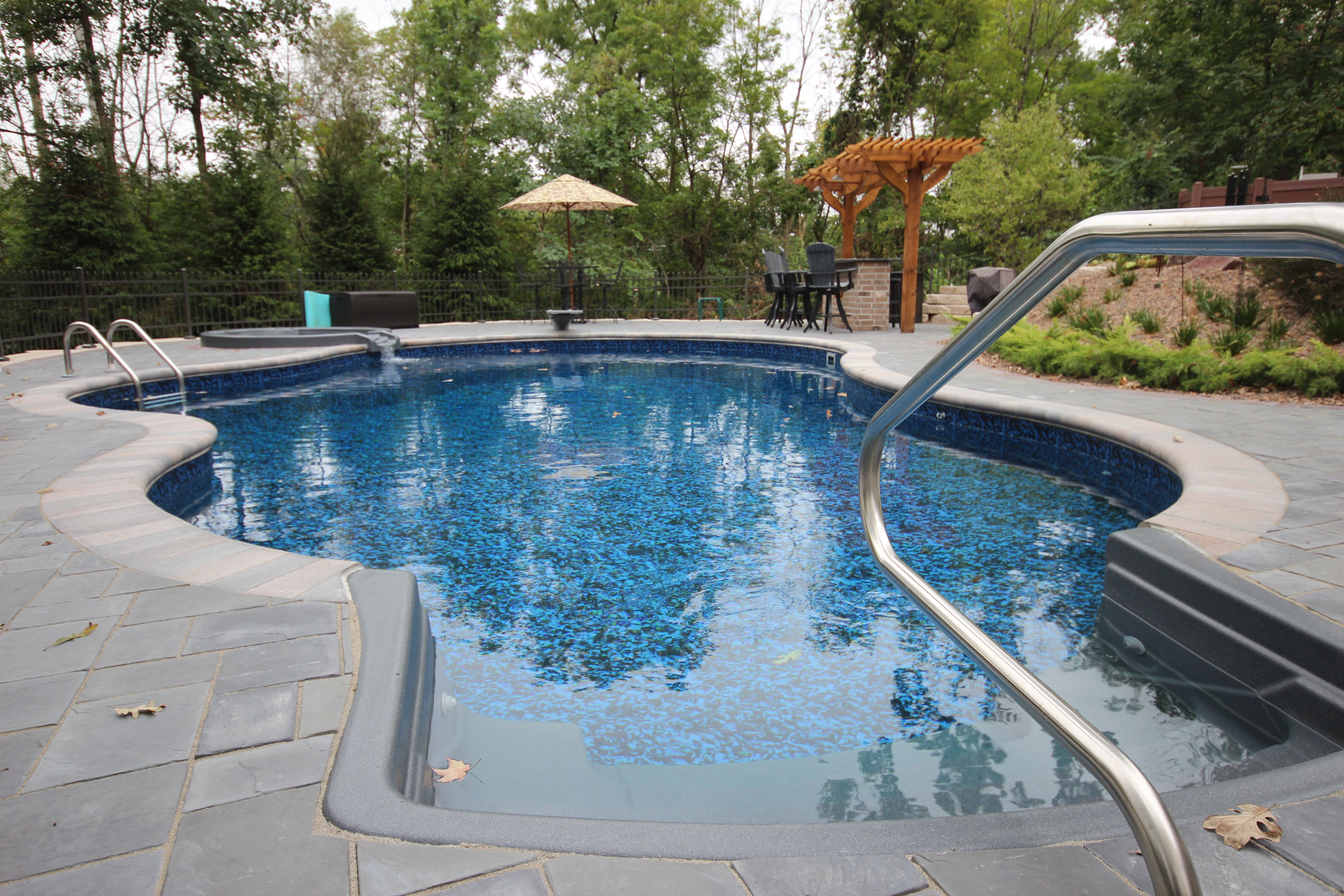 This Pool Is A 22 X 37 Mountain Lake With Steel Walls And A Vinyl Liner