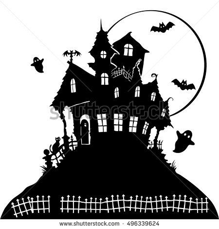 Black And White Silhouette Of A Terrible Haunted House House Silhouette Halloween Window Silhouettes Halloween Silhouettes