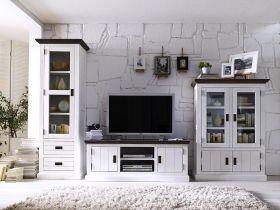 Wohnwand Schrankwand Akazie massiv weiß lackiert Govery1 | Landhaus ...