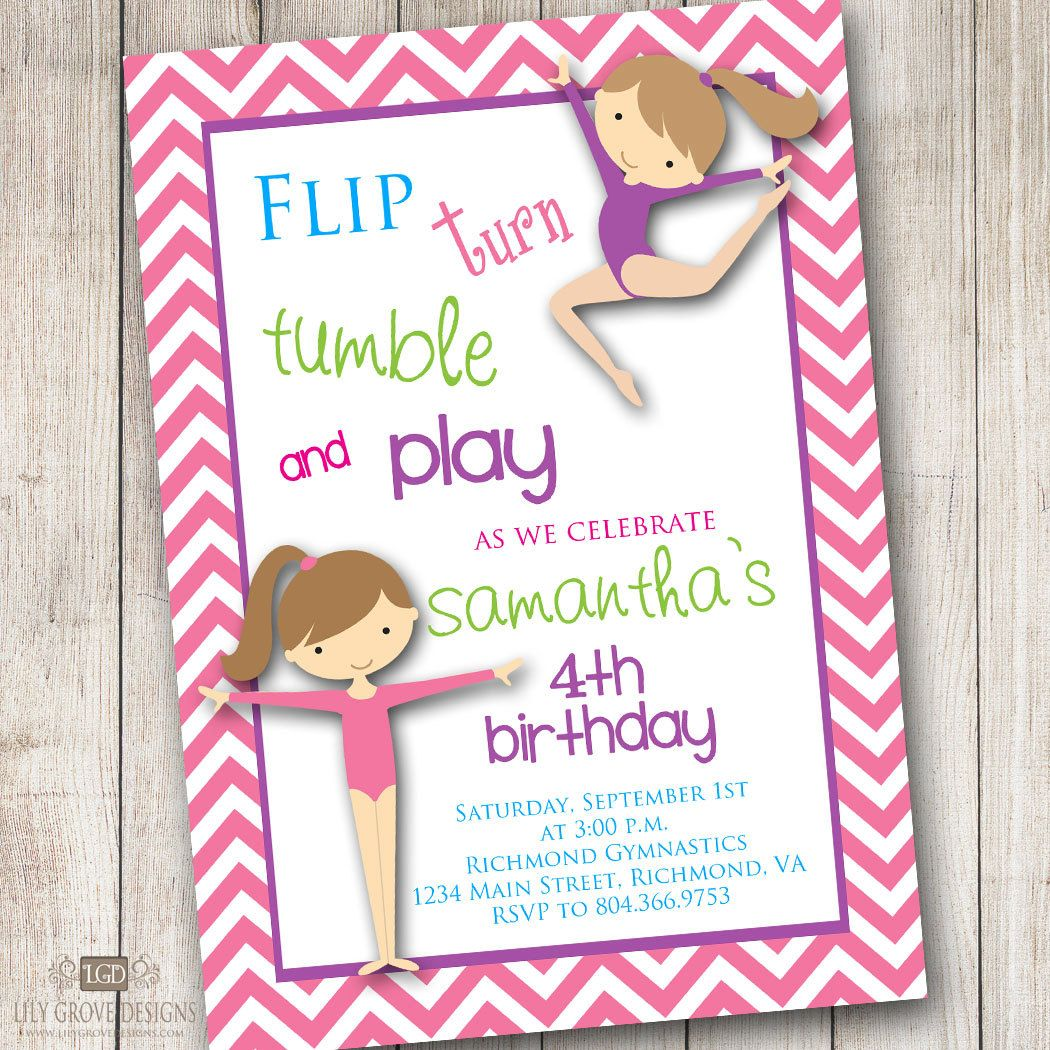 Cute Bday Gymnastics Themed Party Invitation Birthday Wording 4th