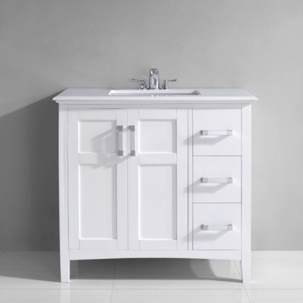 Wyndenhall salem 36 inch white quartz marble top single sink bathroom - The 36 Inch Salem Vanity Is Defined By Its White Finish Chrome Pulls Small White Bathroom Vanitysingle Sink Bathroom Vanitywyndenhall