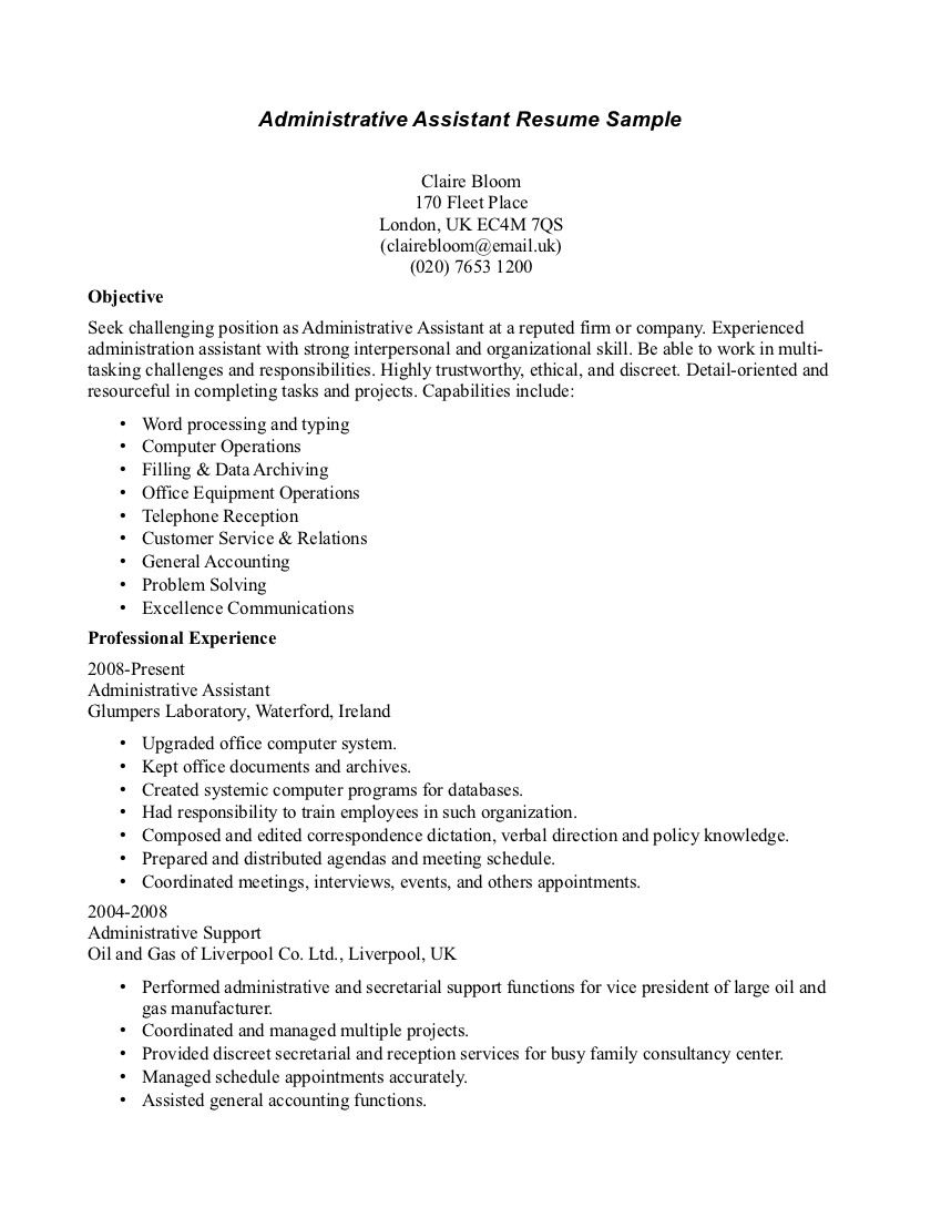sample resume receptionist administrative assistant httpwwwresumecareerinfo administrative positionadministrative - Administrative Assistant Duties Resume Sample