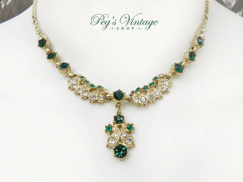 Gorgeous Vintage Necklace, Emerald Green & Clear Crystal Necklace, Rhinestone Wedding / Bridal Choker by PegsVintageShop on Etsy