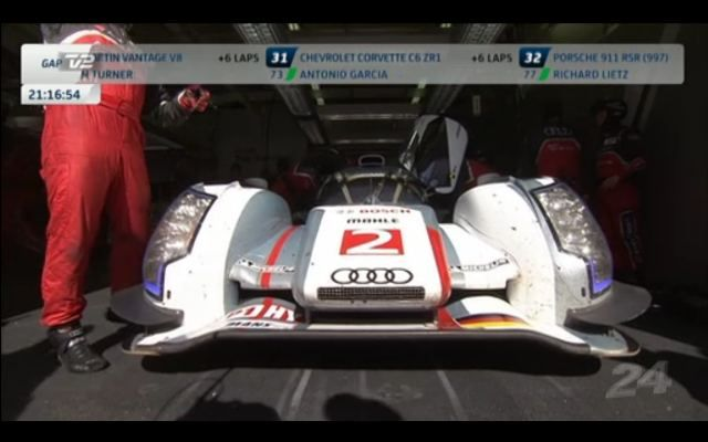 The #2 Audi Sport in the garage from P2 overall for possible suspension issues.