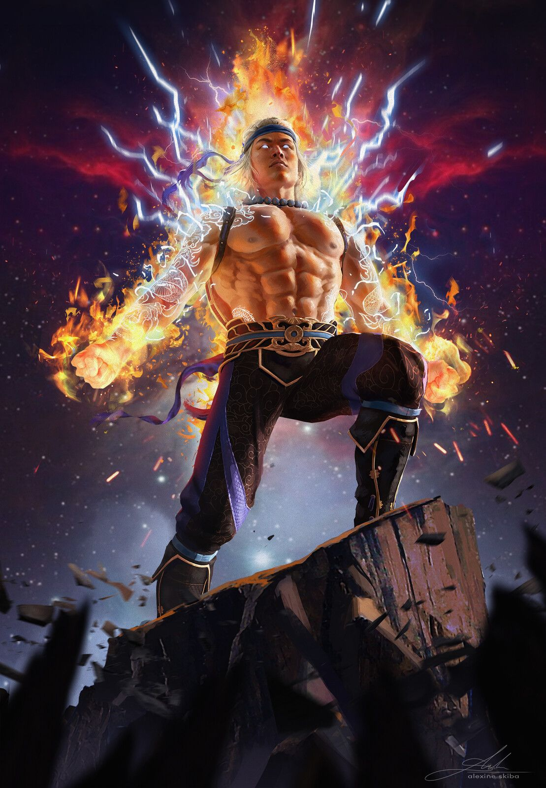 Liu Kang God Of Thunder And Fire Aleksandra Skiba On Artstation At Https Www Artstation Co Raiden Mortal Kombat Mortal Kombat Art Mortal Kombat Characters