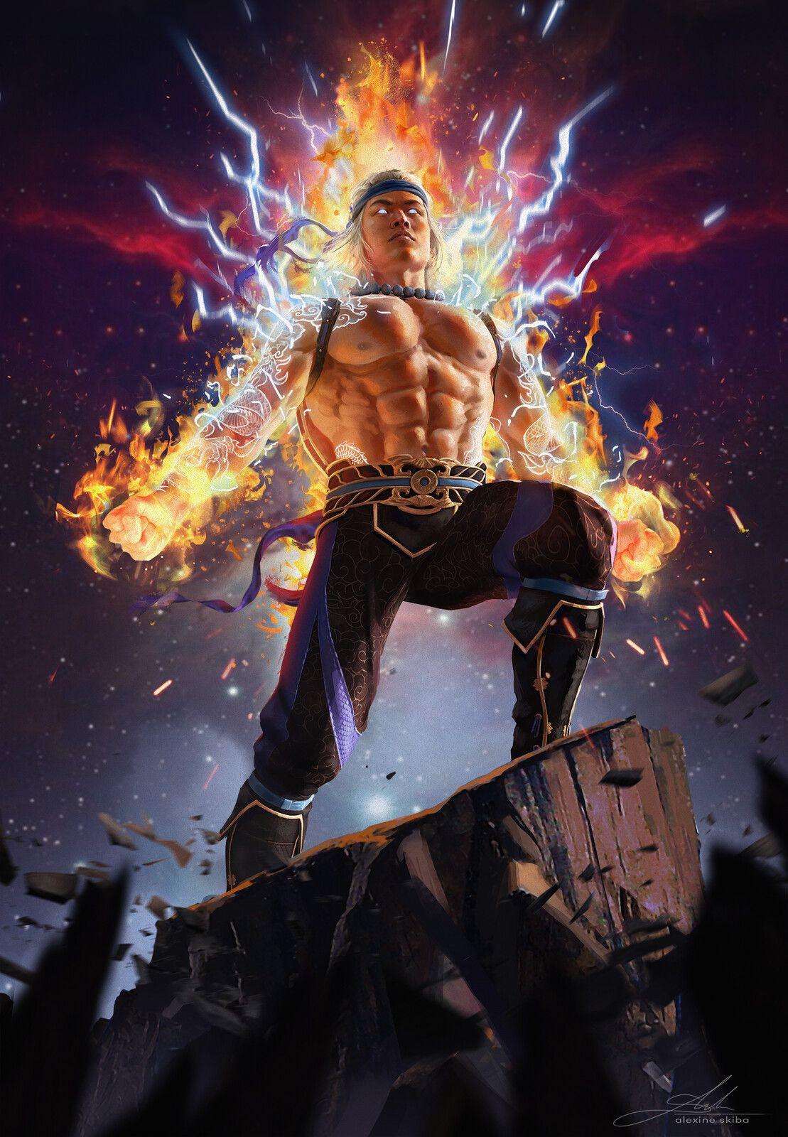 Liu Kang God Of Thunder And Fire Aleksandra Skiba On Artstation At Https Www Artstation Co Raiden Mortal Kombat Mortal Kombat Art Mortal Kombat Characters