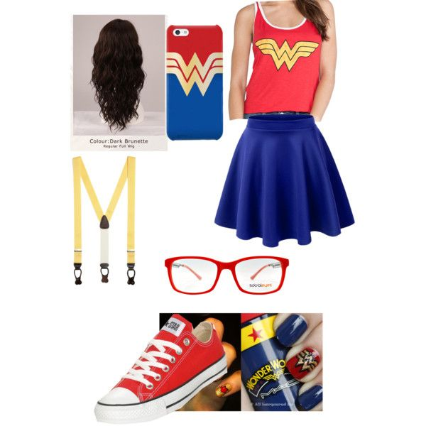 Hipster Wonder Woman by laurenelizabeth02 on Polyvore featuring polyvore, fashion, style, Junk Food Clothing, Converse, SocialEyes, Brooks Brothers and WigYouUp