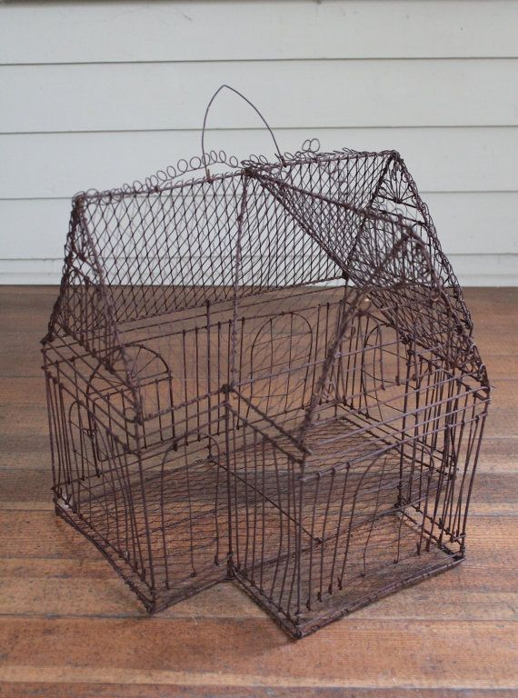 Vintage Rusty Wire Bird Cage Decorative By TheBorrowedBicycle 7000