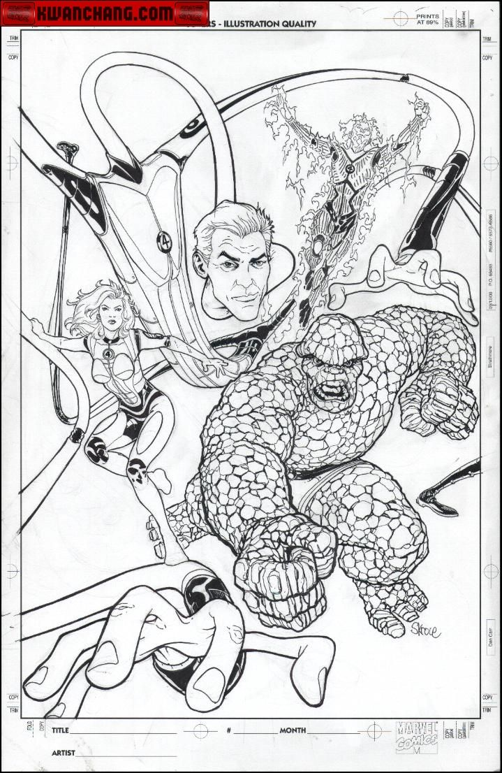 Kwan Chang :: For Sale Artwork :: Fantastic Four WIzard Pinup by artist Steve Skroce