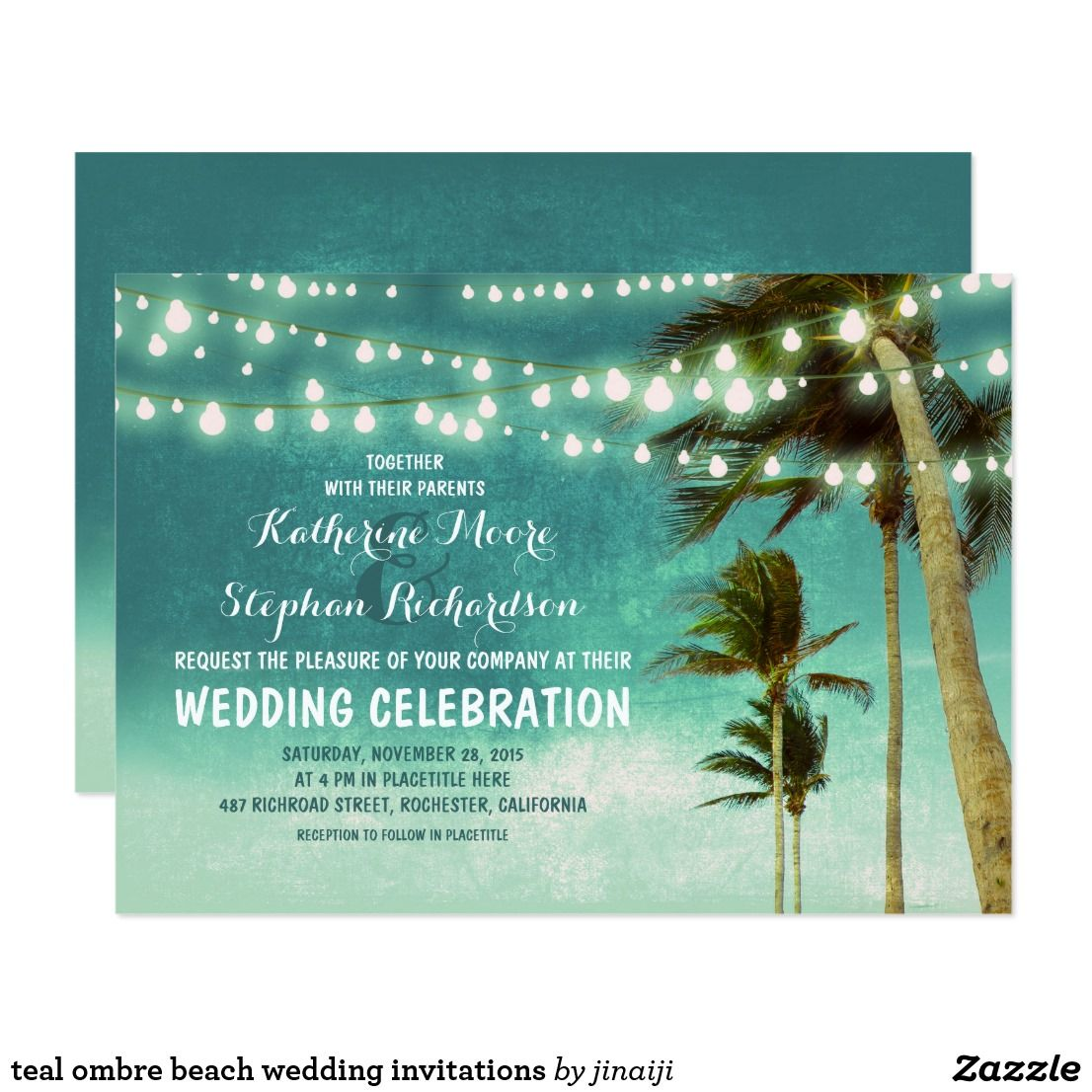 Teal Ombre Beach Wedding Invitations Beach Wedding Invitations