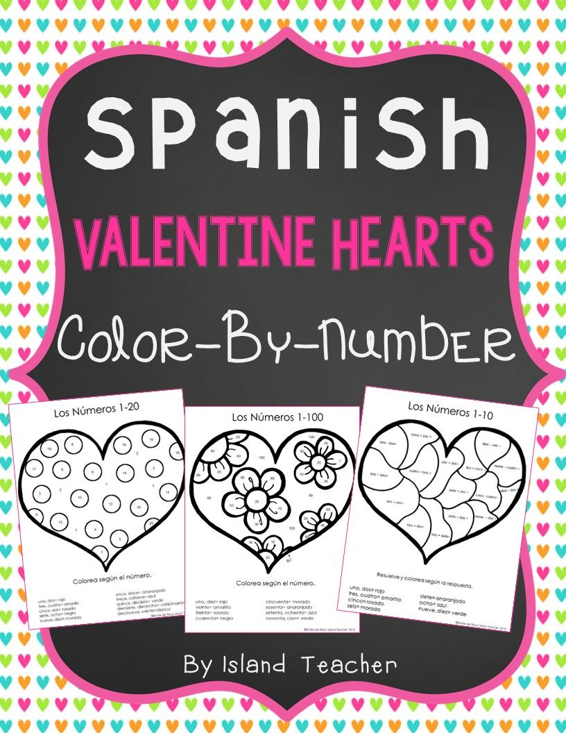 Spanish colors for preschool - Spanish Color By Numbers Valentine Hearts